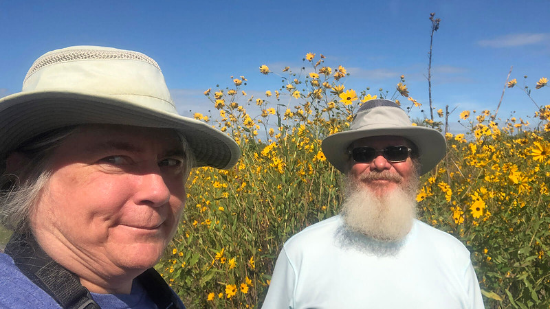 Sandra and John and sunflowers 2021