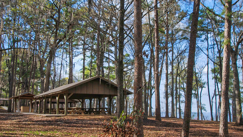 Picnic pavilion overlooking lake