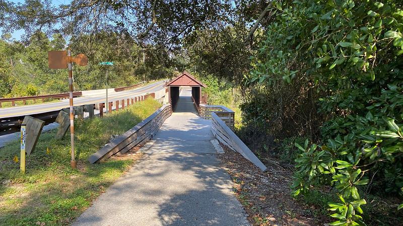 Covered bridge on bike path