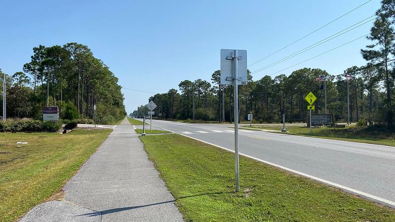 Bike path adjoining road