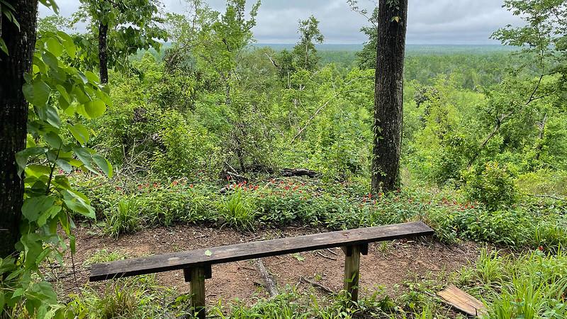 Bench overlooks river valley