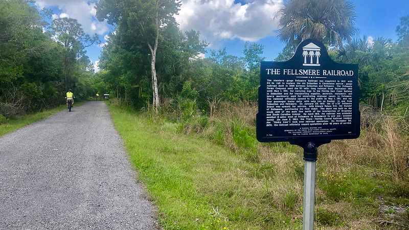 Cinder bike path past state historic marker The Fellsmere Railroad