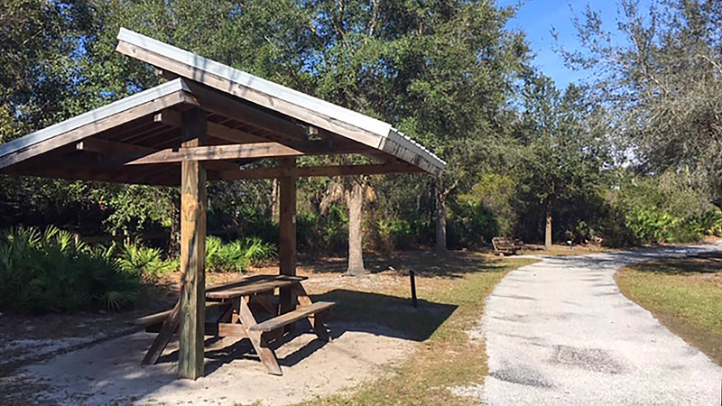 Picnic table adjoining path
