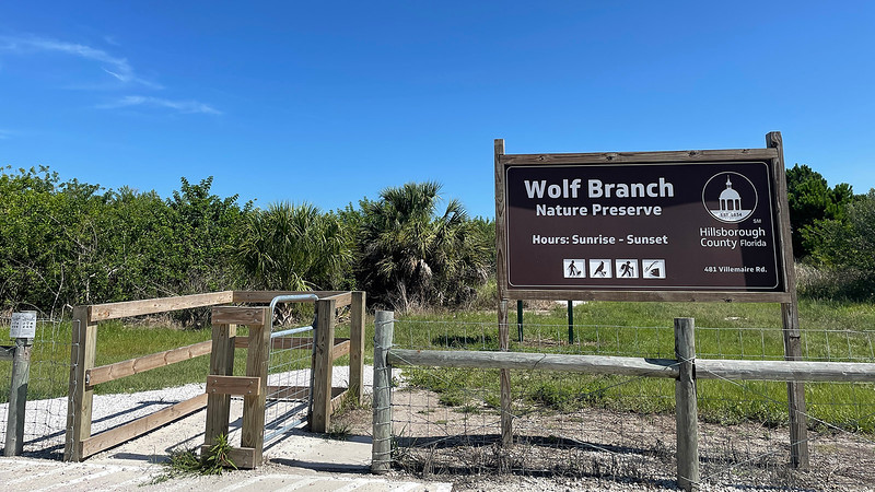 Wolf Branch Trailhead sign and fence