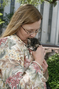 Melissa Abernathy, Leon County Humane Society (LCHS) Program Director witha  kitten from the LCHS Foster and Adoption program