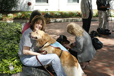 Natalie Sachs-Ericsson with her latest rescue, Morgan, who is in the LCHS Shelter-to-Service Program