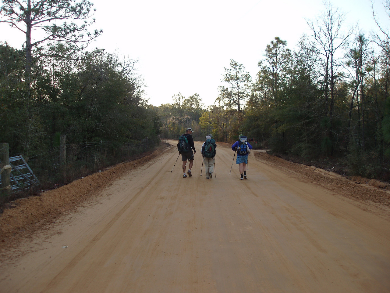 Hiking back roads in Washington County<br /> PHOTO CREDIT: Robert Coveney / Florida Trail Association