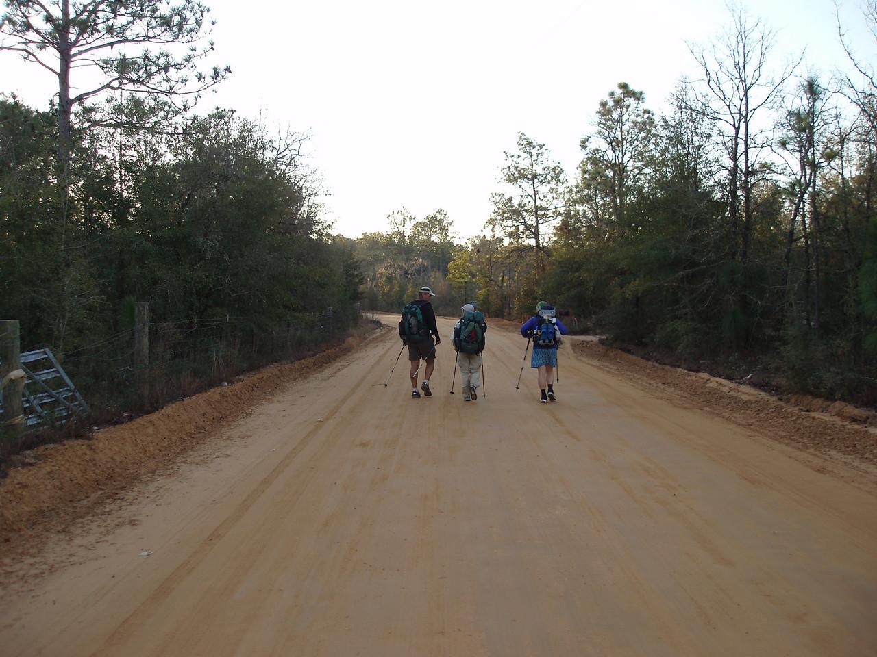 Hiking back roads in Washington County<br /> PHOTO CREDIT: Robert Coveney / Florida Trail Association