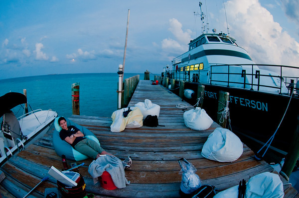 The dock at Loggerhead Key with the M.V. Fort Jefferson, and our bean-bag base camp for the evening while we waited for turtles to start coming up the beach to nest.