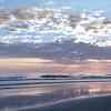 Beautiful sunrise over ocean horizon.