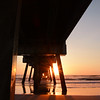 Beautiful sunrise over the ocean and pier.