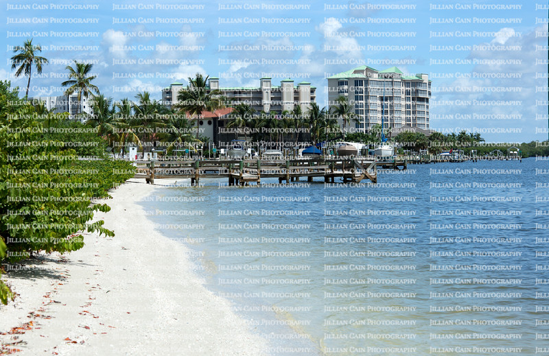 Boat docks and condos on Fort Myers Beach, Florida, USA