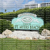 Fort Myers Beach welcome sign greets tourists as they reach Estero Island on the west coast of Florida, a popular tourist location.