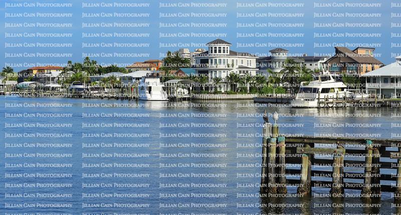 Waterfront homes facing Matanzas Bay in downtown Fort Myers Beach, Florida, USA.