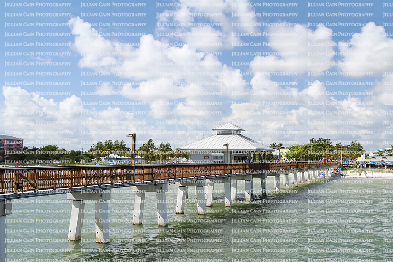 View of the Fort Myers Beach Pier and beach as seen from the end of the pier