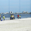 Workers traveling Fort Myers Beach in golf carts and wearing surgical masks clean up dead fish that washed up due to toxic red tide .