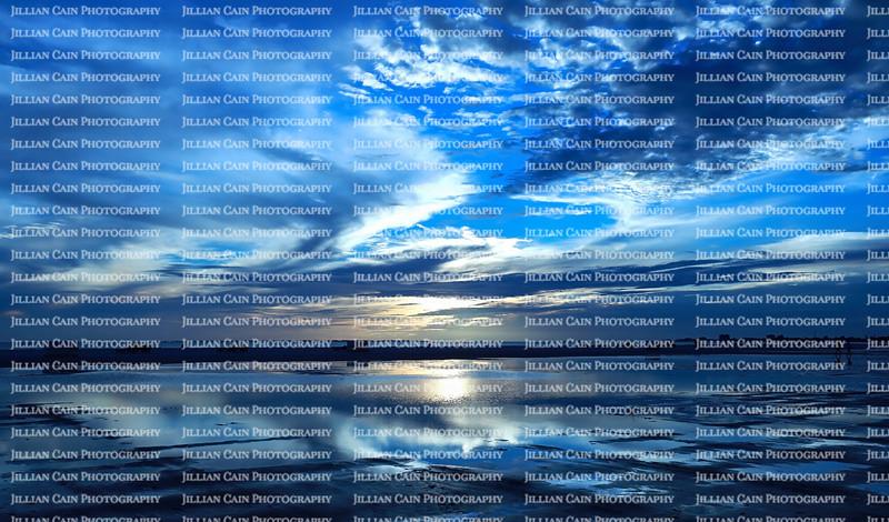 Dramatic blue sunset on Fort Myers Beach, Florida, USA.