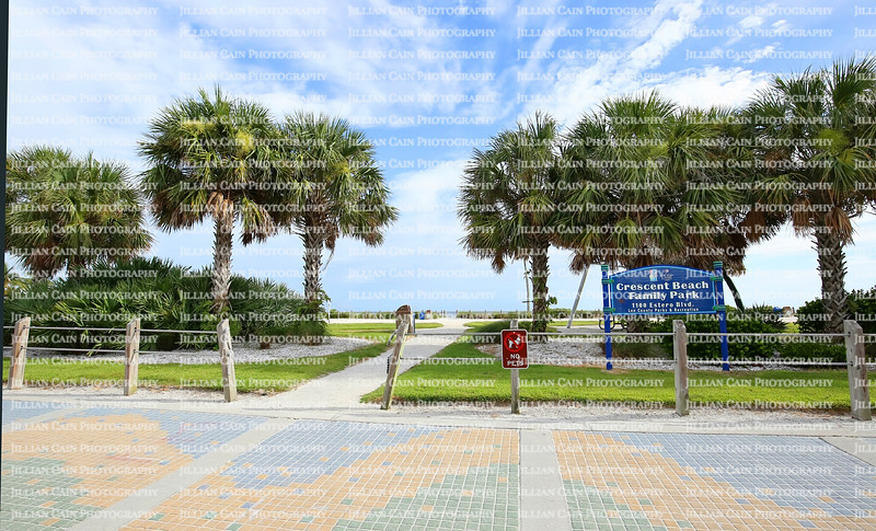 Lee County Crescent Beach Family Public Park adjacent to Times Square in downtown Fort Myers Beach, Florida, USA.
