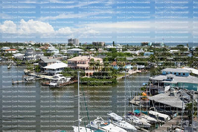 Aerial photo of San Carlos Bay and waterfront homes on Fort Myers Beach, Florida, USA.