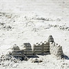 Sand castle in need of repairs on Fort Myers Beach, Florida
