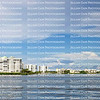 Fort Myers Beach bay side skyline view as seen from the water.