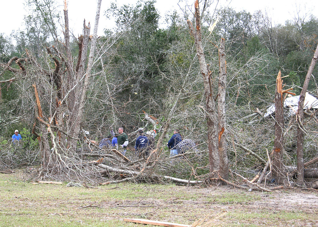 On February 2, 2007 at 3:00a a tornado ripped through The Villages, FL as it cut a swath across Florida on its way to the Atlantic Ocean.  This was taken on Rolling Acres Road, about 3/4 of a mile from where we are staying in our 5th wheel.