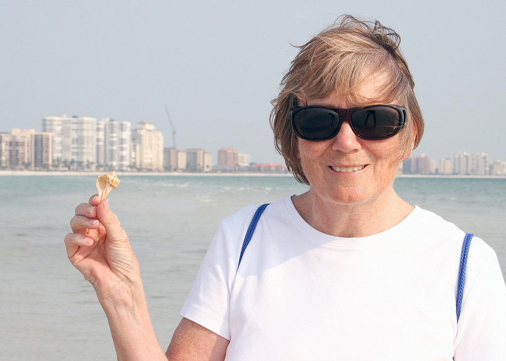 5/1/07 - Susan with one of the shells she found