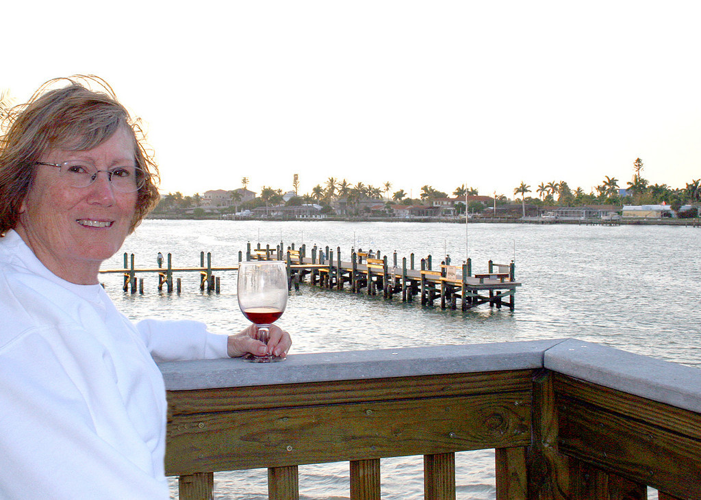 4/29/07 - Susan enjoying a glass of wine at the end of our condo