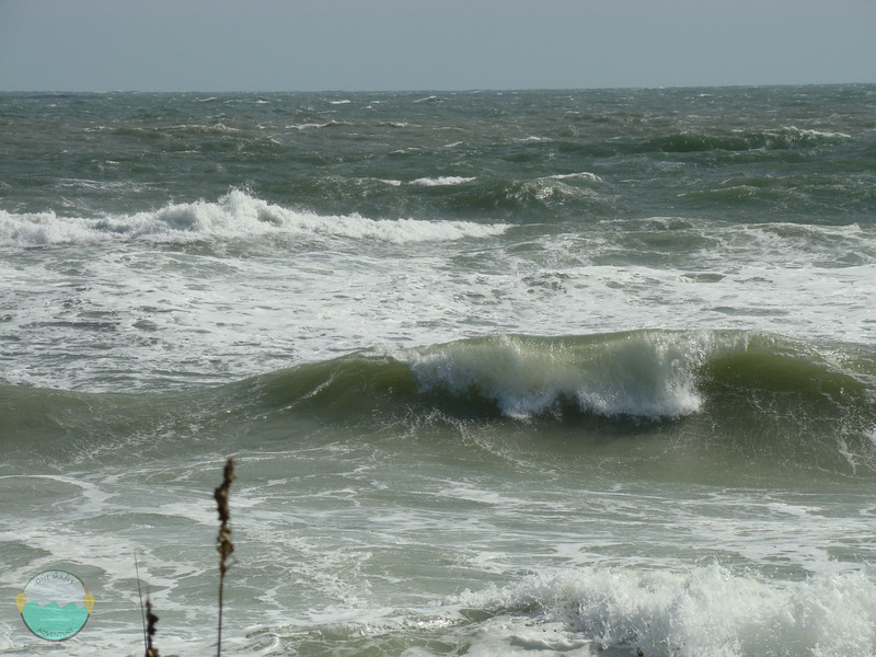 Close up of some waves breaking.