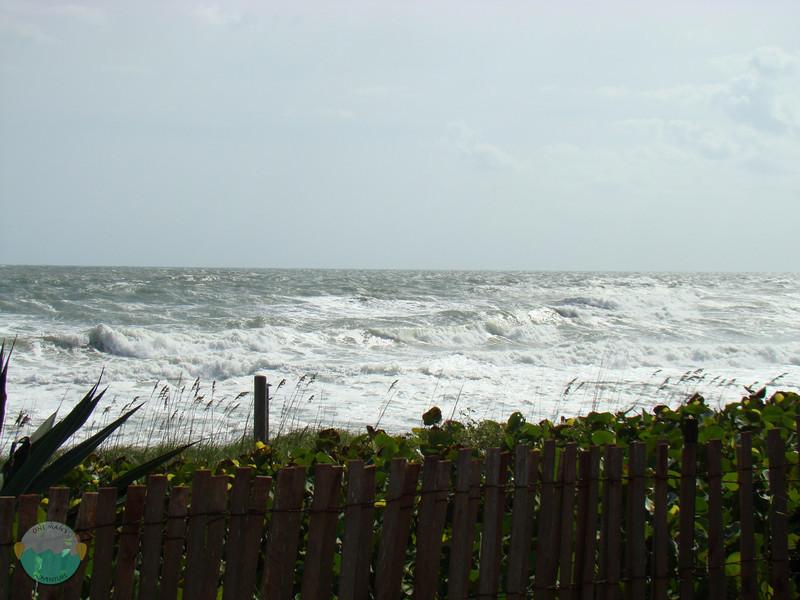 Waves washing away the shore.