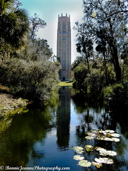 Edward Bok's Singing Tower was sited at the highest elevation south of the reflection pool, so the water reflects its full image.