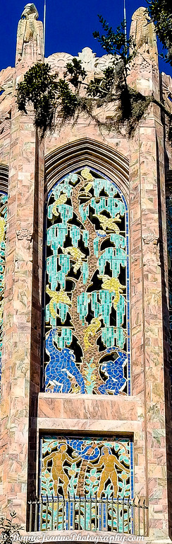 The colorful tiles found only in the top third of the Tower were designed by J. H. Dulles Allen depicting the perfect balance in nature, species and gender.