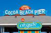 "The ""Oh Shucks"" seafood restaurant at Cocoa Beach, Florida, USA."