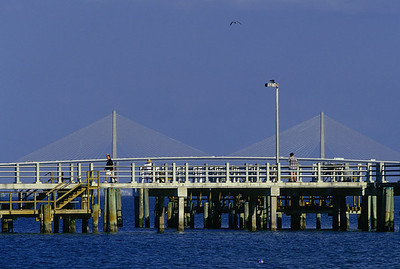Ft Desoto Park pier & Sunshine Skyway