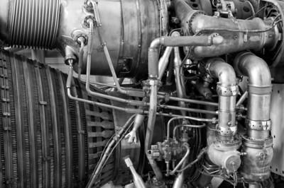detail Saturn V engine B&W