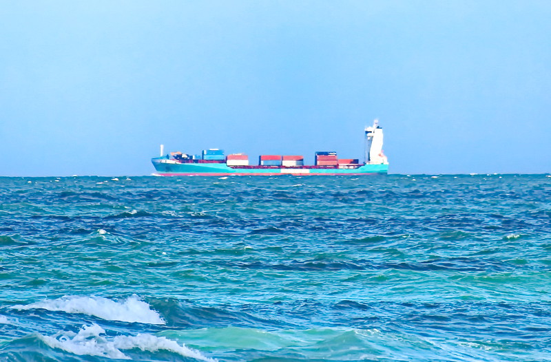 Cargo Ship in the Shipping Lane