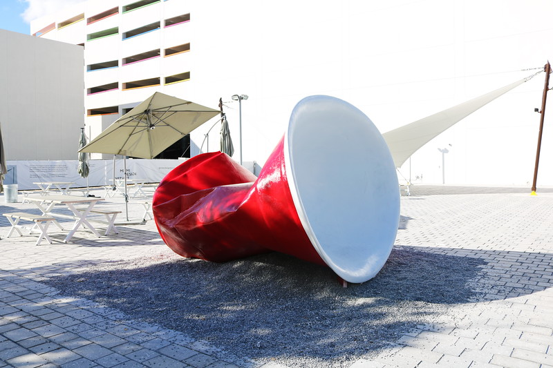 Discarded Red Plastic Cup Sculpture