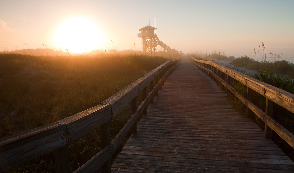 Foggy sunrise at Lighthouse Point Park. Volusia County, FL<br /> <br /> FL-100624-0001