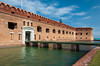 The entrance bridge over the moat at Fort Jefferson in the Dry Tortugas National Park, Florida, USA.