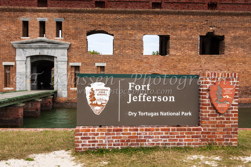 Fort Jefferson entrance sign and gate in the Dry Tortugas National Park, Florida, USA.