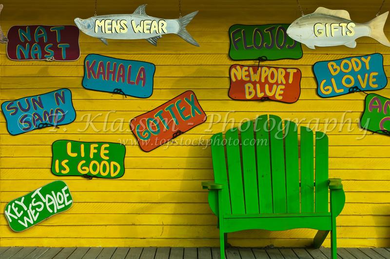 A colorful resort verandah in Key West, Florida, USA.
