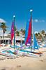 Smathers Beach and sailboats at Key West, Florida, USA.