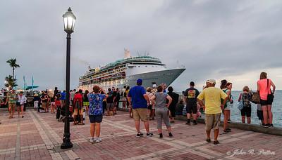 Tourists and cruise ship