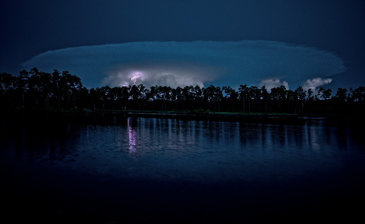 Night Lightening from Mushroom shaped Cloud Long Pine Lake - Everglades National Park.
