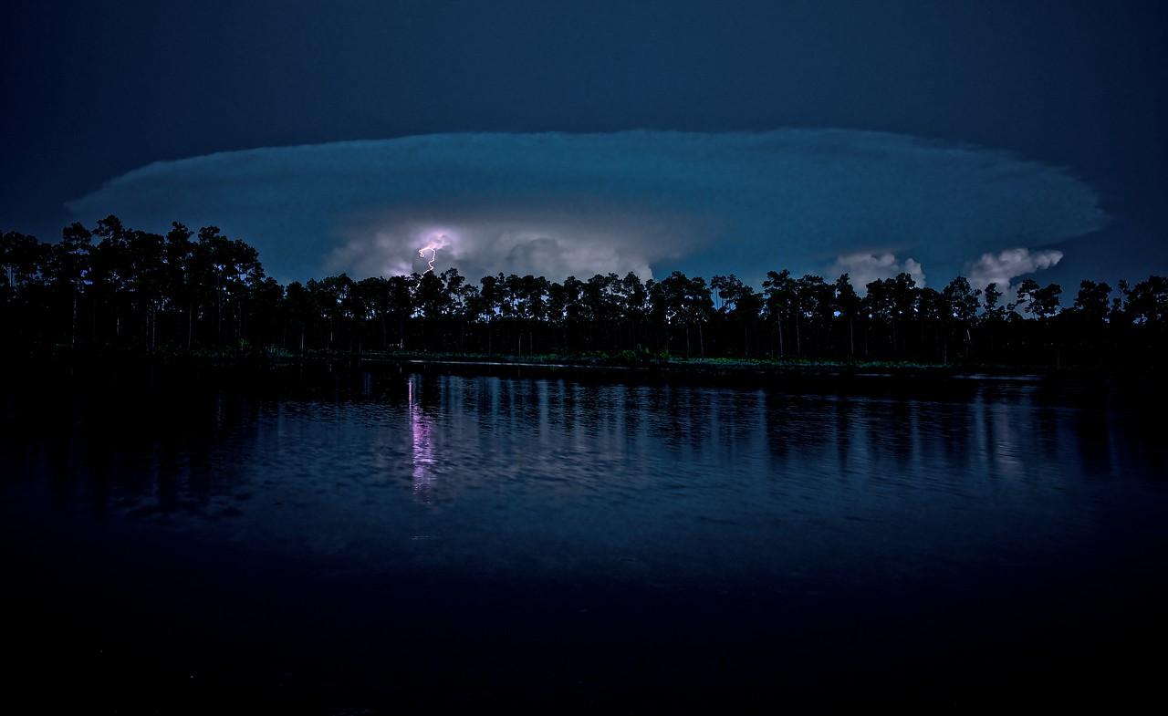 Night Lightening from Mushroom shaped Cloud Long Pine Lake - Everglades National Park.