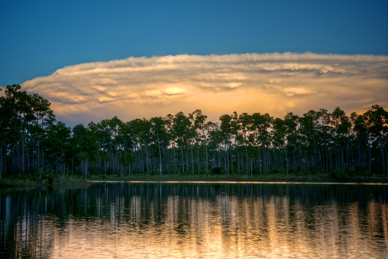 Mushroom Shaped cloud with Mammalation Long Pine Lake Everglades National Park.
