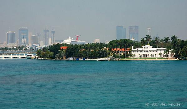 Star Island, Miami Beach. A Carnival cruise ship and Miami in the background.