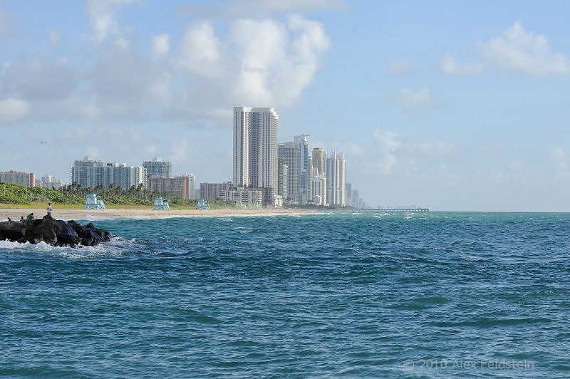 Haulover Beach and Sunny Isles in the distance
