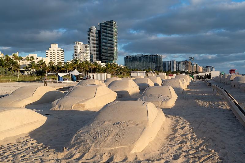 """""""Traffic Jam"""" sand sculpture for Art Basel 2019"""