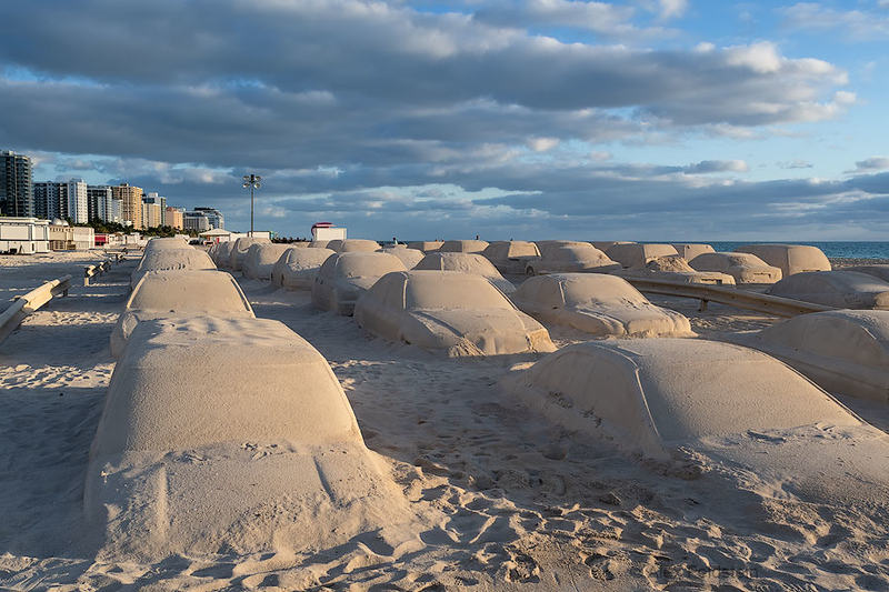 """Traffic Jam"" sand sculpture for Art Basel 2019"